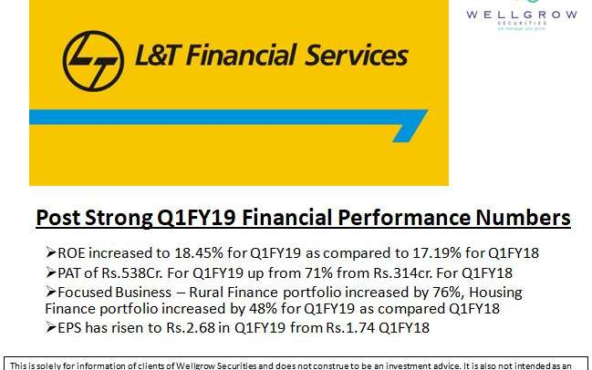 L&T Finance (LTFH)- Post Strong Q1FY19 Financial Performance Numbers
